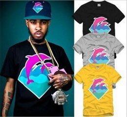 Wholesale Hip Hop Men T shirts Summer Plus Size Diamond Dolphins Printed T shirts Street Style Sport Mens Casual Short Sleeve T Shirts SF