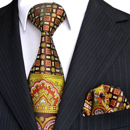 E2 Neckties Set Handkerchieves Floral Multicolor Yellow Black Red Mens Tie 100% Silk Jacquard Woven Wholesale