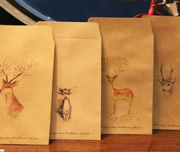 Wholesale-10pcs set A4 letter paper Kraft paper vantage style cute colorful Painted deer wallet envelope for gift love letter leave a note