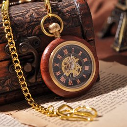 Wholesale Gold Wooden Necklace Suits Pocket Watch With Chain Mechanical Hand Win Roman Numbers Luxury Gift Box Vine Antique Watch