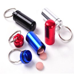 Wholesale Small Medicine Storage - 1 PC Small Waterproof Metal Container Aluminum Pill Box Holder Keychain Medicine Packing Bottle Storage Box Keyring