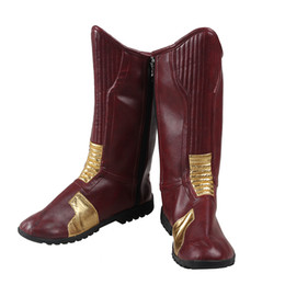 Wholesale Manles The Flash Boots Superhero Costume The Flash Barry Allen Cosplay Costume Accessor Custom Made Replica Props