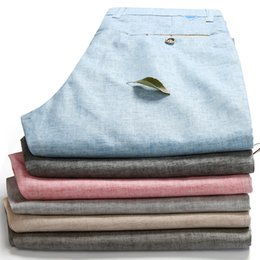 Wholesale Linen Fabric Trousers - Wholesale-Fashion Men's Linen Fabric Quality Summer and Spring Casual Pants for Men Dress 2016 New Linen Trousers Mens