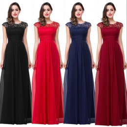 New Arrival 2017 Cheap Bridesmaid Dresses A Line Cap Sleeves Lace Appliqued Chiffon Long Formal Party Evening Dresses CPS261