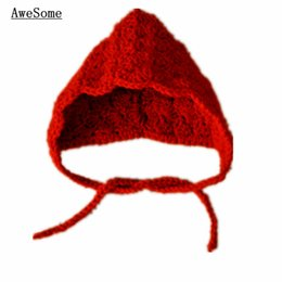Wholesale Super Cute Handmade Crochet Little Red Riding Hook Hat Red Baby Girl Hat Halloween Costume Infant Toddler Photography Prop Best Shower Gift
