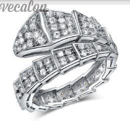 ecalon Fashion Snake ring 100pcs Cz Diamond ring 10KT White Gold Filled Women Engagement Wedding Band ring free shipping gift