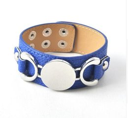 Wholesale Snap Leather Warp Bracelets for Women Men Jewelry NEW Monogram PU Leather Cuff Bracelet Jewelry Blank Fashion Female Pulseras