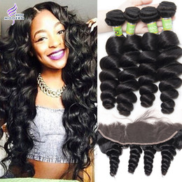 Brazilian Loose Wave Human Hair Weave 4 Bundles with Lace Frontal Pre Plucked Lace Frontal Closure with Bundles Brazilian Virgin Hair Weave