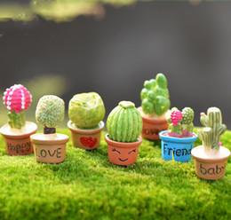 Wholesale 7pcs Kawaii Cactus Flower Pot Fairy Garden Terrarium Statue Miniatures Bonsai Tools Resin Craft Gnome Zakka Dollhouse Home Accessories