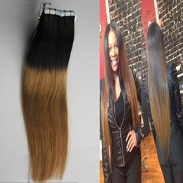 "Two Tone Color T1B 27 10""-26"" 7A Grade Ombre Skin Weft Ombre Tape In Human Hair Extensions 40 Pieces Adhesive tape hair extensions 100g"