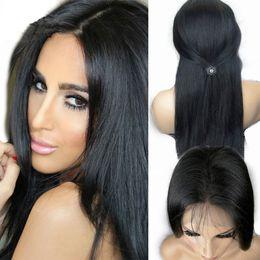 Promotion célébrités de couleur naturelle des cheveux Vente chaude de cheveux indiens cheveux pleine perruques dentelle célébrité devant perruques de dentelle couleur naturelle 130% de densité en stock