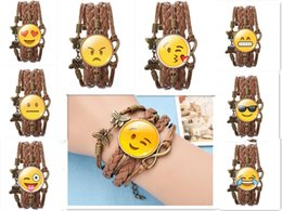 Wholesale Emoji Infinity Bracelet Handmade Leather Butterfly Braided Smile Cry Kiss Eye Faces Pendant Wristband Adjustable Chain Jewelry Gift