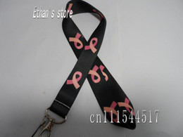 Wholesale Black Breast Cancer Awareness Ribbon Badge Lanyard for Keys