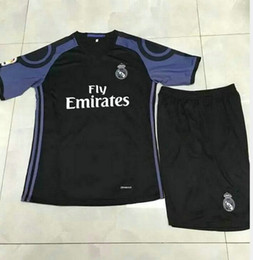 Wholesale _ Wholesales seasons real madrid third kids soccer jerseys customzied name number top quality soccer uniforms football shirts shorts