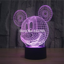 Wholesale 7 Color Changing Flashing Mickey Mouse Acrylic D LED Night Light USB D Christmas LED Decorative Table Lamp Baby Mood Lamp