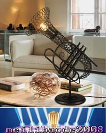Wholesale 2016 new Retro Creative Saxophone Table Lights Vintage Loft Bar Hotel Art Table Lights Bookstore Table Lamp Lighting fixture Desk Lights MYY