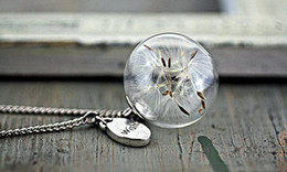 silver necklace with Real Dandelion Seeds in glass orb and wish charm gift &jewelry