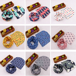 Wholesale DHL New Beautiful Star anchor Baby Hat Cotton Scarf Infant Hats Sets Children Newborn Beanie Caps Scarf Baby Cap SD C02