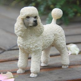 Wholesale White Cute Mini craft Arts Factory Outlet Terrier Simulation Model Of British Brand Poodle For Home Decoration