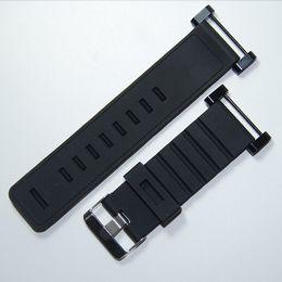 Ver negro núcleo suunto en venta-Venta al por mayor-Para la correa de reloj Suunto Core 24MM Negro caucho suave de silicona + hebilla inoxidable + PVD Adaptadores + Screwbars
