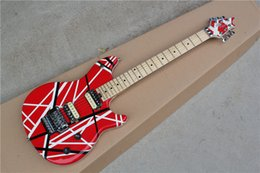 Wholesale Electric Guitar with Black and White Stripes on Red Body Maple Fretboard Floyd Rose Can be Customized