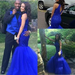 2017 Royal Blue Mermaid Prom Dresses High Neck Lace Appliques Beaded Keyhole Back Long Prom Evening Gowns Vestidos De Formatura