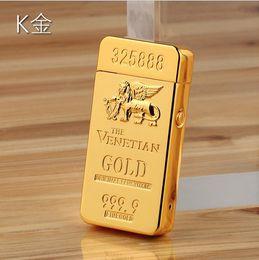 Wholesale K gilt foil Macau casino double pulse arc lighter USB charging lighter luxury bullion