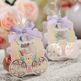 Wholesale 100Pcs Sweet Bear Candy Boxes Paper Card With Ribbon Wedding Favor Holders Hollow Out Gift Box Autumn Style Hot Sale