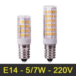 Wholesale Mini E14 LED Lamp W W V SMD2835 Crystal Chandelier Bombillas LED Light Corn Bulb Pendant Refrigerator Light Replace Halogen