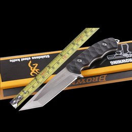 Browning Small Elite Drop Point 5Cr15 Sanding Blade ABS Black Handle Fixed knife Straight Camping Hunting Outdoor Gear Gift Knives
