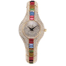 Wholesale Hot Sale High Quality Watch Fashion Generous Bling Color Rhinestone Stainless Steel Replicas Watches online Muslim