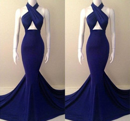 Royal Blue Halter Backless Sweep Train Satin Mermaid Evening Dresses Sexy Slim Fitted Prom Dresses Formal Party Dress Vestidos BO4865
