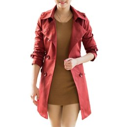 Wholesale-New Fashion Women Long Coat Double Breasted Belted Waist Turn-Down Collar Trench Coat Outerwear