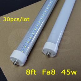 Stock In US + 8 feet led 8ft single pin 30pcs lot t8 FA8 Single Pin LED Tube Lights 45W 4800Lm LED Fluorescent Tube Lamps 85-265V