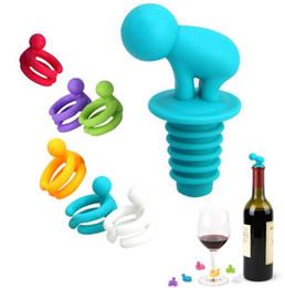 Promotion verre bouchons de vin Creative Silicone Petit Ivrogne Champagne Bouteille de vin Bouchon avec accessoires Wine Glass Cup Marker Set Party Nouveauté