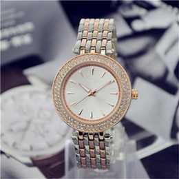 Simple classic design style Luxury Fashion Double Crystal Diamond Ma'am Watches steel belt Quartz Large dial Ladies quartz watch wholesale