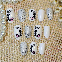 Glitter Long Fake Nails French False Nails Tips Acrylic Half Tips Shining Art Design colored glitter Beauty Pre Design Nail Tips Acrylic Nai