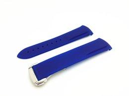 Acheter en ligne Regarder bracelet en caoutchouc noir-20mm 22mm NOUVELLE GRANDE CATÉGORIE noir étanche de plongée en caoutchouc de silicone bandes bandes bandes avec le bleu d'argent pour la montre d'Omega