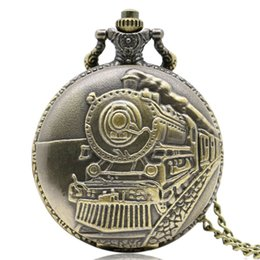 Wholesale New Arrival Antique Bronze Train Front Locomotive Engine Necklace Pendant Quartz Pocket Watch
