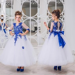 2018 Royal Blue Lace Appliques Flower Girl Dresses Half Sleeve With Bow Sash Ankle Length Girl Pageant Prom Party Gowns BA7104