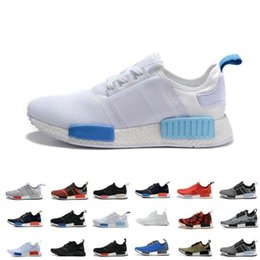 Wholesale Cheap NMD R1 W quot Blue Glow quot New Shoes Mens Women s Athletic Running sneaker Shoes Running Shoe Brand Boost With Box