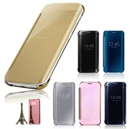 Wholesale iPhone Deluxe Electroplating flip Mirror View Case For iPhone s plus Plus Samsung Galaxy Note S7 S6 edge A9 A8 A7 with retail box