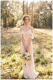 2016 Cheap Bohemian Country Bridesmaid Dresses Spaghetti Straps Wedding Guest Wear Pink Chiffon Beach Long Party Dress Maid of Honor Gowns