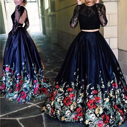 Two Pieces Black Lace Print Evening Dresses Long Sleeves Open Back Sheer Illusion Pleat Ruched Long Pageant Prom Gowns 2016