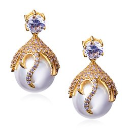 Wholesale 2016 Orecchini Earings Pendientes Mujer New Simulated Jewelry Earrings Aaa Cubic Zirconia Allergy Free Lead Free