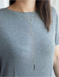 Wholesale Pendants Necklaces Jewelry Brief Women Fashion Gold Plated Geometric Circle Metal Strap Tassel Clavicle Chain Necklace Wholesla SN699