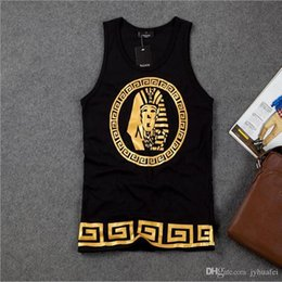 Wholesale Europe West Coast gold stamping KING Egyptian pharaoh avatar HIPHOP tide men loose cotton vest hee