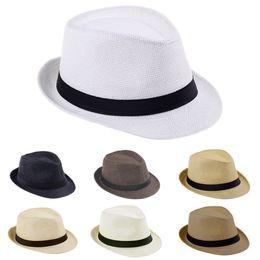 Summer Beach Sunhat Fedora Trilby Straw Hat Gangster Cap Fit For Kids Children