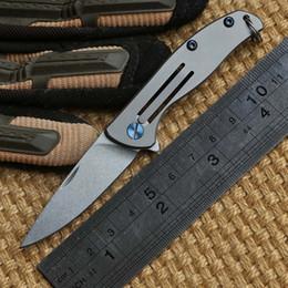 Wholesale Ben Mini small F95 style D2 blade Bear Head folding knife Titanium outdoor camp hunting pocket fruit kitchen knife EDC tool
