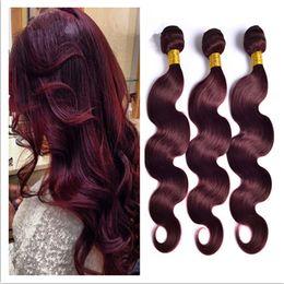 Virgin Indian Wine Red Human Hair Bundles 99J Burgundy Indian 3Bundles Body Wave Wavy Virgin Remy Human Hair Weaves Extensions 3Pcs Lot